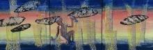 15. Fliegende Fische, Collage, 90x30cm
